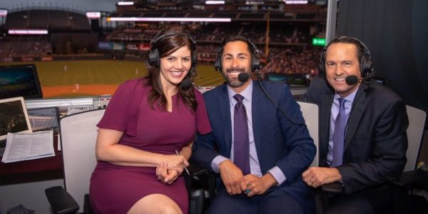 Jenny Cavnar, Ryan Spilborghs, and Jeff Huson in the Rockies broadcast booth