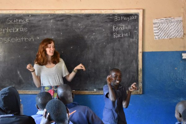 Rachel Melton teaching students in Africa