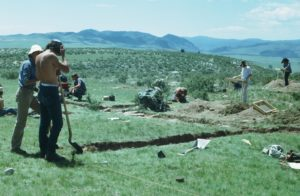 Students working at an anthropology field site in the 1970s