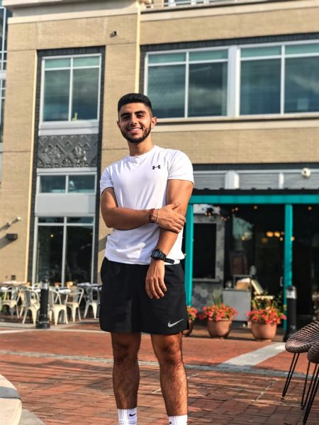Aram Sahakyan poses in front of building