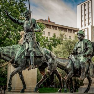 Statue of fictional hero Don Quixote and his squire Sancho Panza
