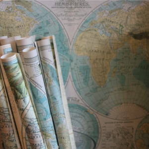 Rolled up maps of the world