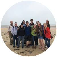 Students visiting Normandy Beach in France