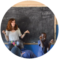Rachel Melton helping at a school in Zambia
