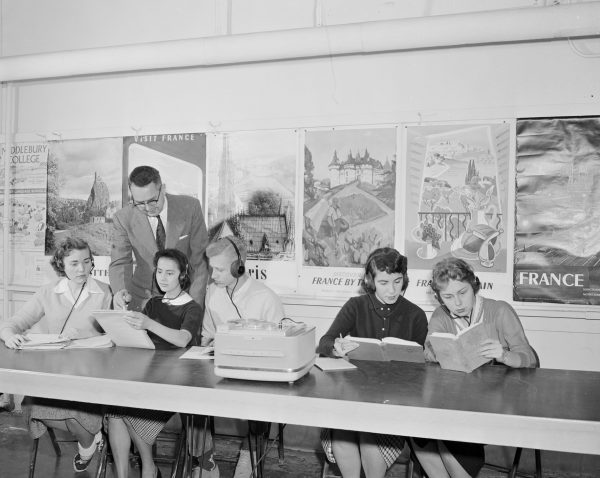 Students in a foreign language class in 1959