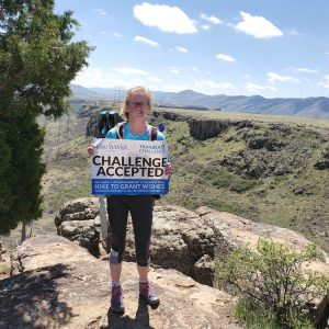 Megan Fischer hiking for the Make-A-Wish Colorado Trailblaze Challenge