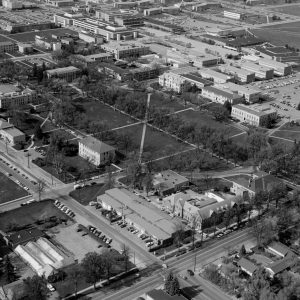 aerial photograph of CSU campus in the 1970s