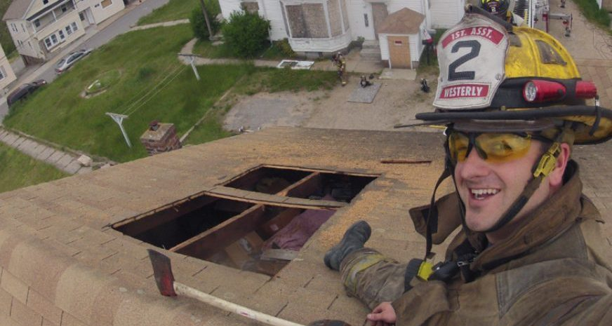 Firefighter on the roof