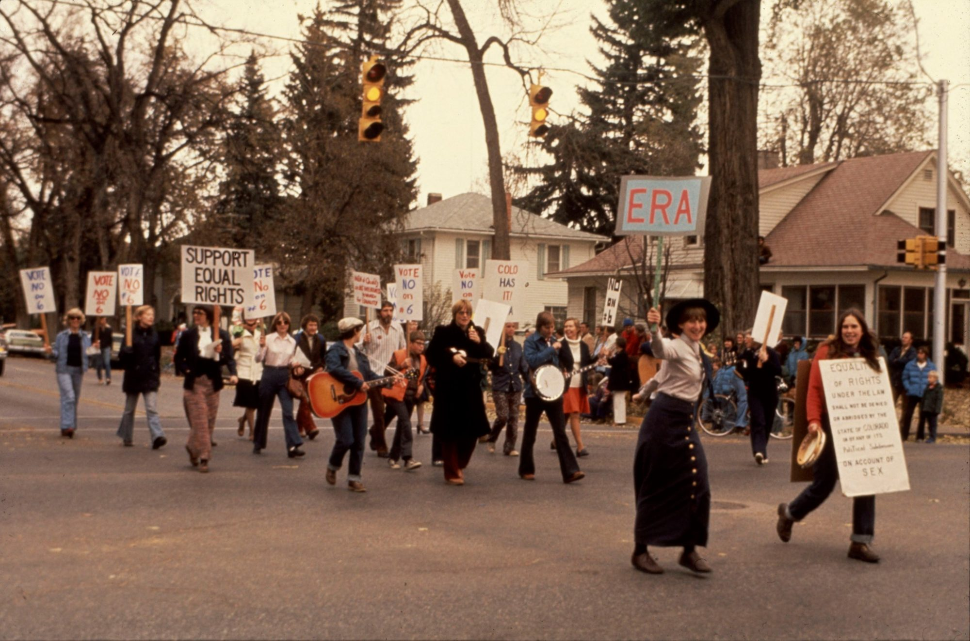 People marching in the streets for equal rights, in the 1970s