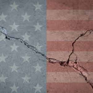 American flag with a crack running through it