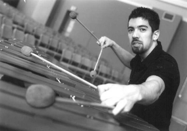 Danny Canete playing the xylophone.